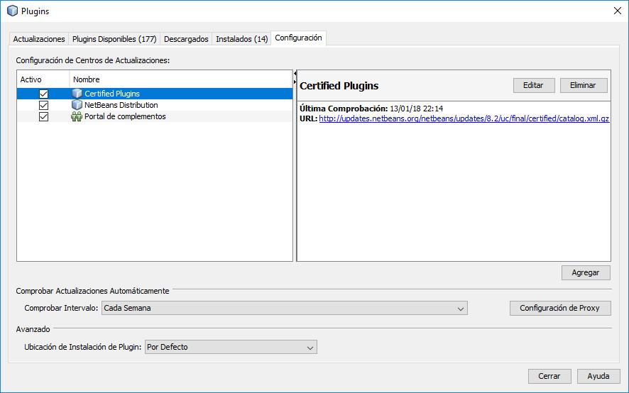 NetBeans: Configuración de Centros de Actualizaciones